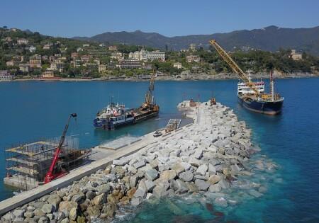 Breakwater pier restore intervention of Santa Margherita ligure Port